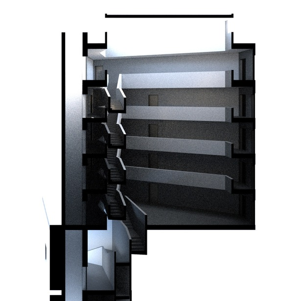 Sectional lighting study - central circulation