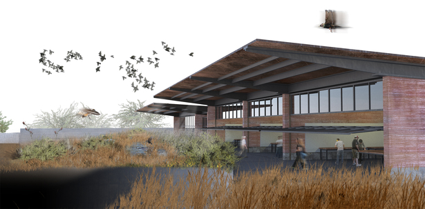 Education Wing that houses community workshop spaces and an active wetland terrace