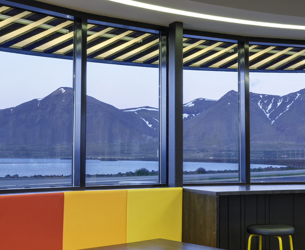 The restaurant offers panoramic views of the scenic Borgarfjörður