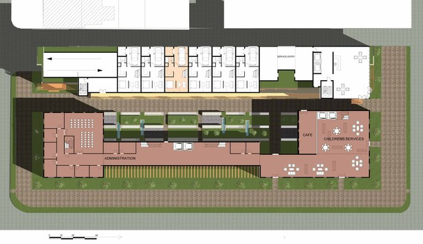 The ground floor clearly depicts the concept of public and private space separated by a buffer. The private spaces are the condominiums to the north and the public space is the library facing L Street.