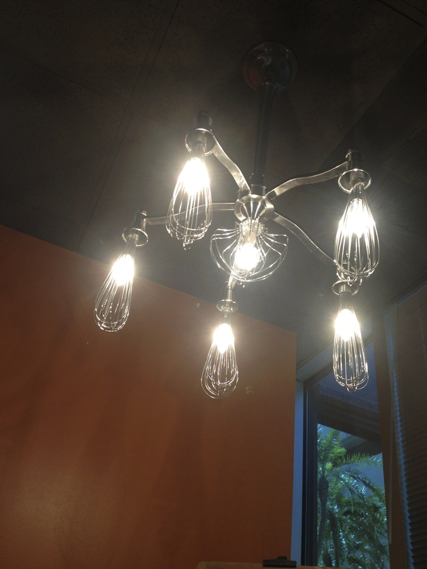I designed this whisk chandelier for the bakery section.