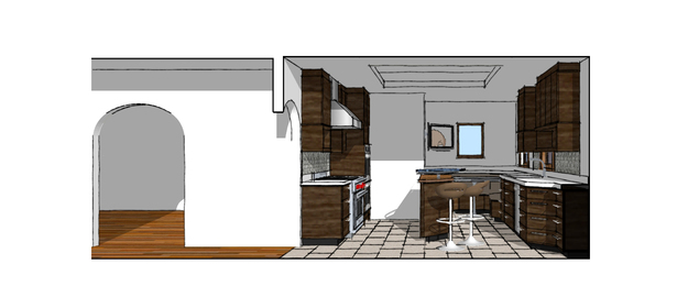 Proposed Kitchen West Perspective Vignette