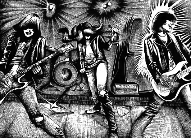 This piece is a rough pen and ink illustration of the Ramones.