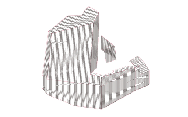 Moire facade isometric drawing