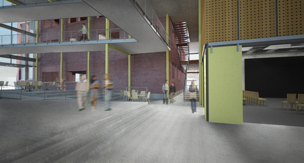Flex space, theater entry, and main stair