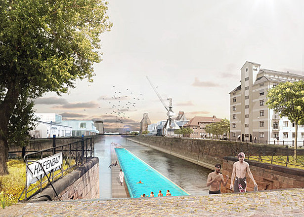 Historic harbour basin with floating swimming pool