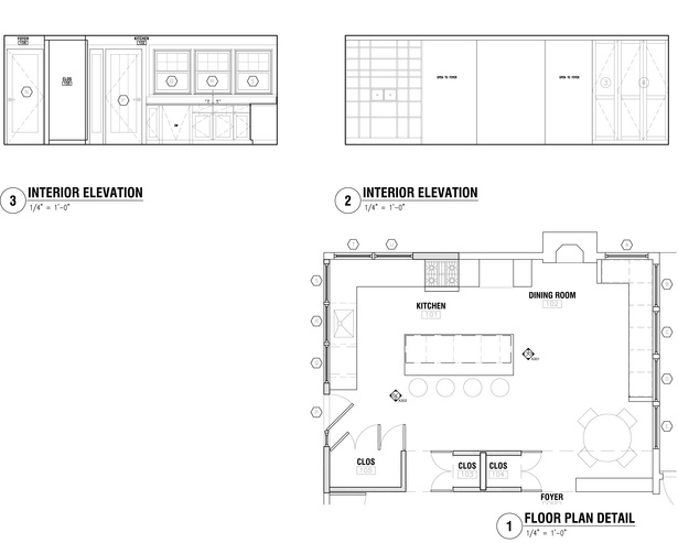 Kitchen/dining room interior drawings