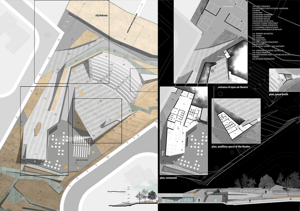 [Left] Plans of the café-restaurant and amphitheatre complex; [Right, from top to bottom counter-clockwise] plans of the main entrance of the amphitheatre, the café-restaurant, the auxiliary spaces of the theatre and the sound booth; [Bottom right] elevation of the complex of buildings.