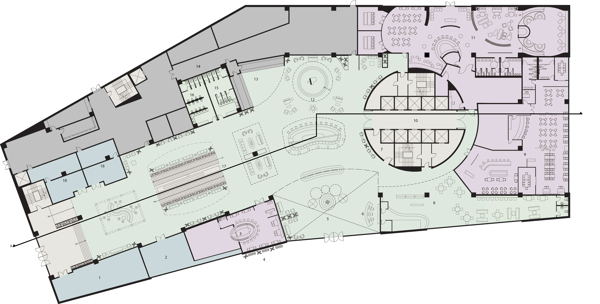 1st Floor Plan with Zone Blocking.