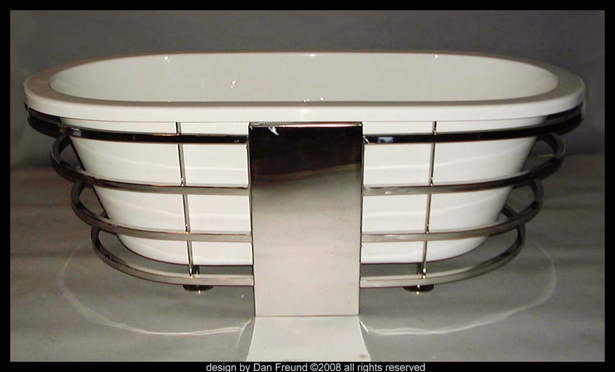 Polished Stainless steel bathtub frame- prototyped for the tub manufacturer.