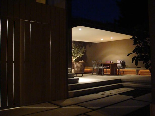 outdoor living room by night