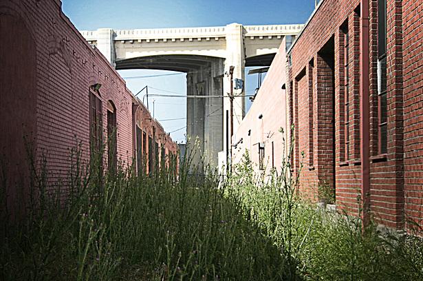 original photo: freight rail right-of-way and the 6th Street Bridge