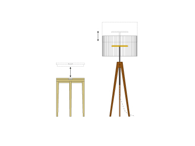 drawings - table and lamp