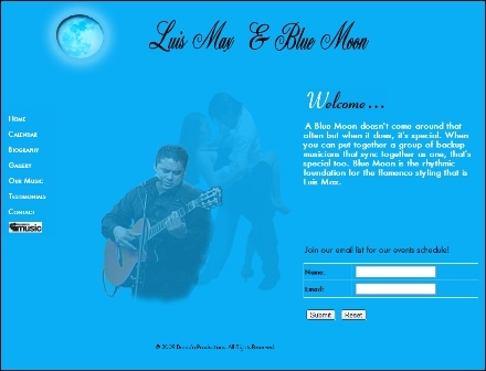 designed website for a Latin musical group