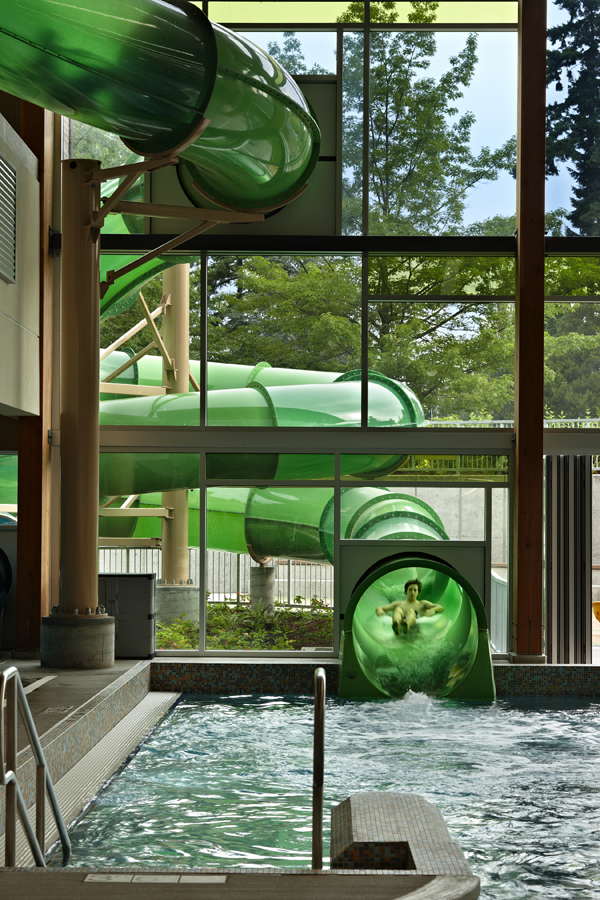 Waterslide that goes outside, then back inside
