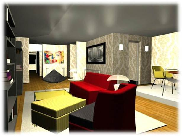 3DS Max drawings of a small NYC apartment for a young artist