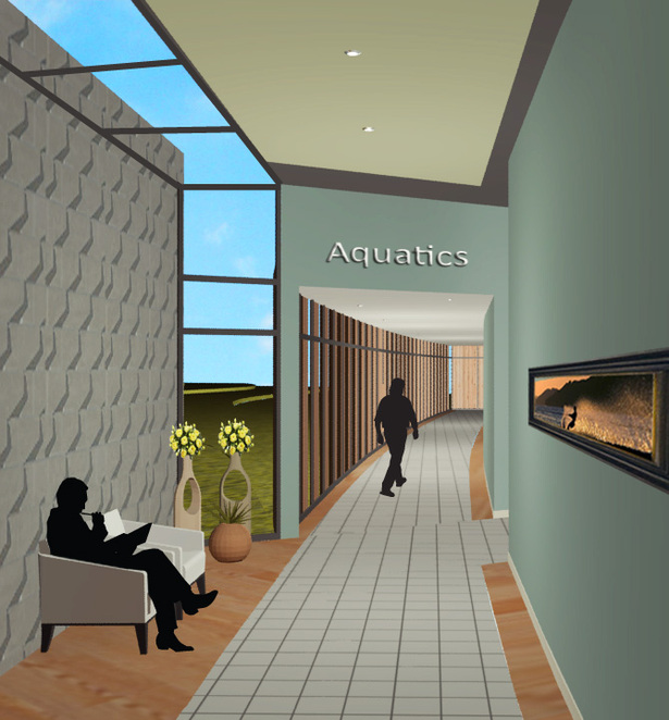 Aquatic Hallway- Each of the four wings of the building houses a different therapy. Clearly marked signage helps patients know where they are at all times.