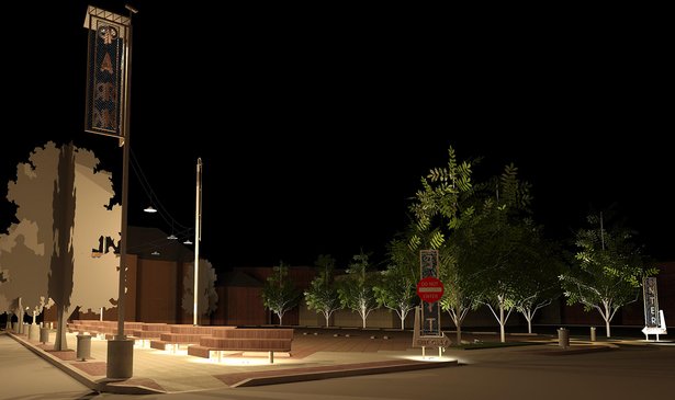 STREET VIEW FROM NORTH CORNER AT NIGHT