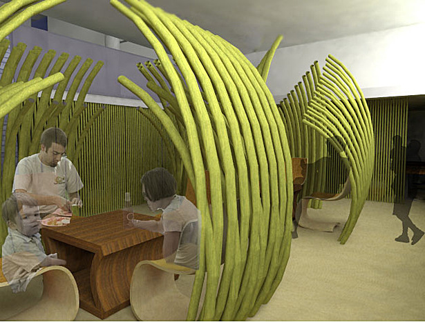 Inspired by the large leaves and how they form a space underneath, this series of green barriers are designed to evoke a sense of intimacy, and serve as buffer zones from the people passing by.