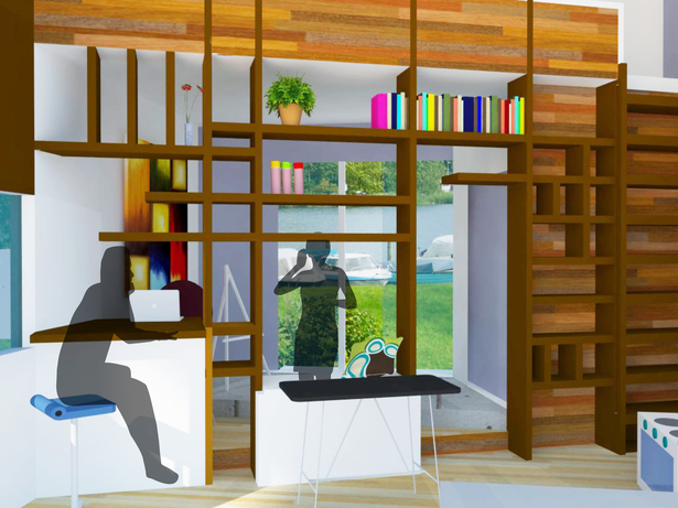 Interior rendering focused on central shelving and storage