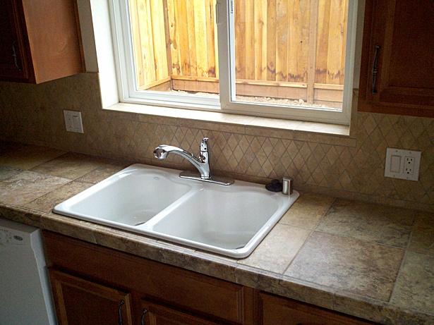 Tiling, Sink Installation, Cabinet Installation