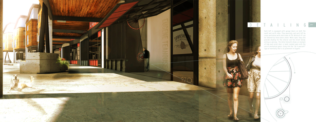 Pedestrian street rendering and garage door details