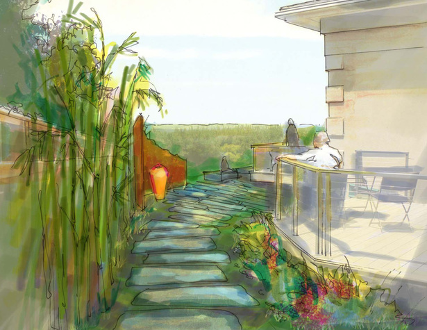 An illustrative rendering of the blue stone path at the side of the home.
