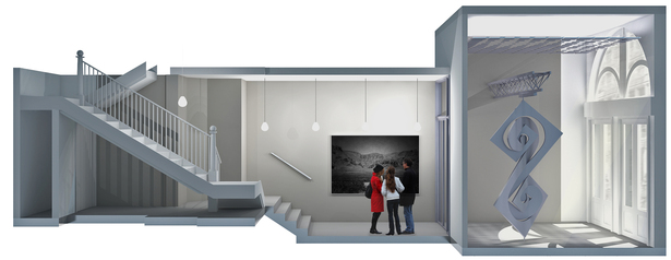 Section of full rear lobby due to linear form