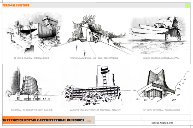 Sketches of notable architectural buildings.