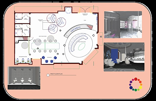 first floor plan and renderings