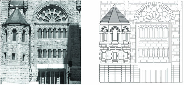 The Erskine and American United church is architecturally characterized by the articulation of different volumes and the treatment and use of apertures and materials.