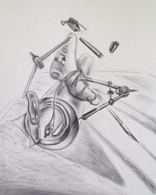 3D Object Arrangement, Pencil drawing