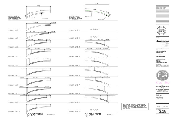 Glulam profiles: construction drawing