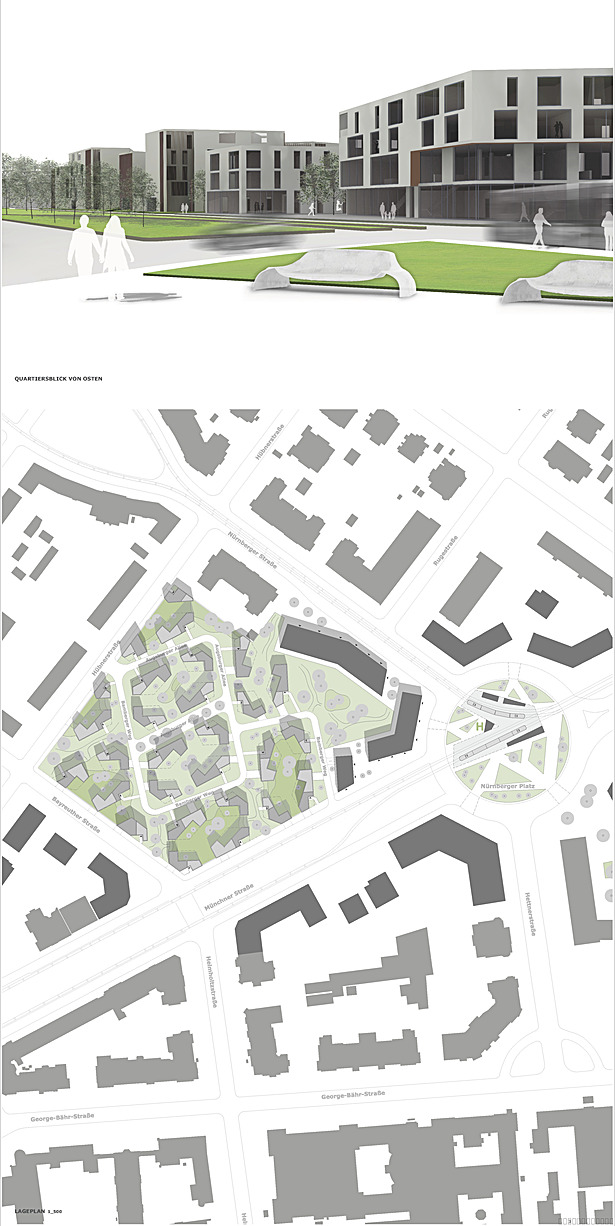 p3_group concept of the town houses and the perspective from the new public transport station facing the entry of the development
