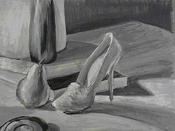 Acrylic, still life of shoe and pear