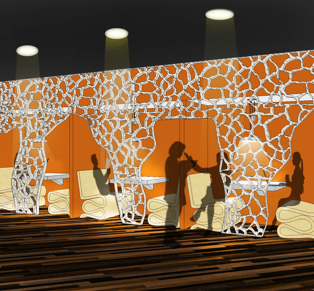 The library study booths, with their giraffe print partition wall and their cardboard chairs inspired by Gehry