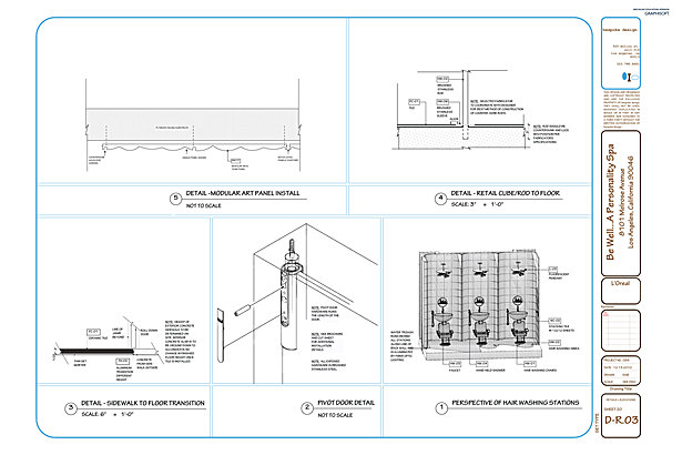 D-R.03 Men's Restroom Details, Elevations + Perspective Dwg