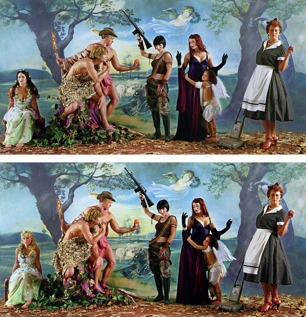 Judgement of Paris (after Reubens) - Dark/Light Helen Chromogenic print 36 x 71 in.