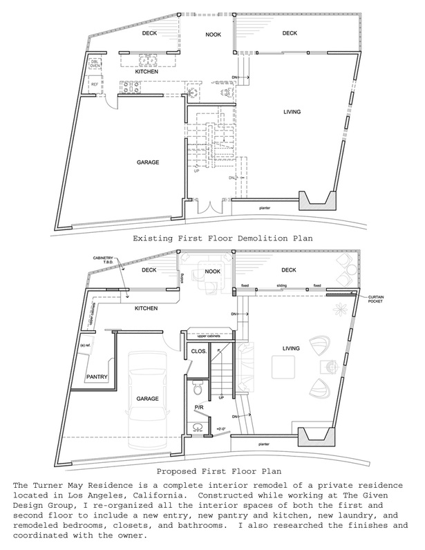 Existing First Floor Demolition and First Floor Plans