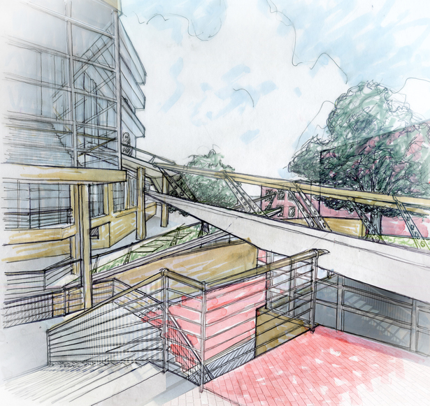 Rendering of Main Stair Entrance