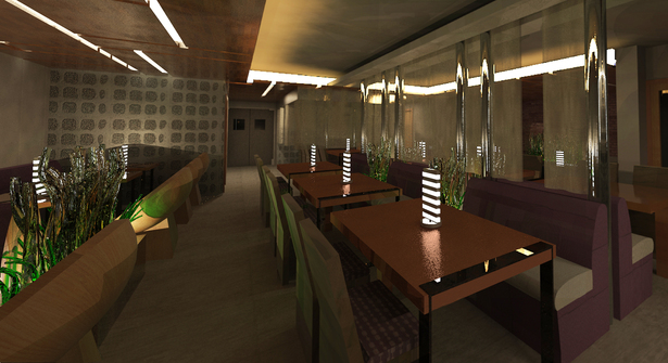 View of the cellar floor, the dinner area, and the lounge area.