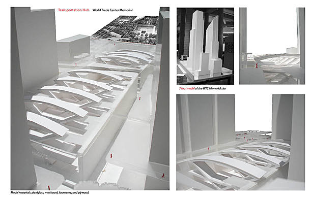 7-foot model of World Trade Center memorial and proposed transportation terminal.
