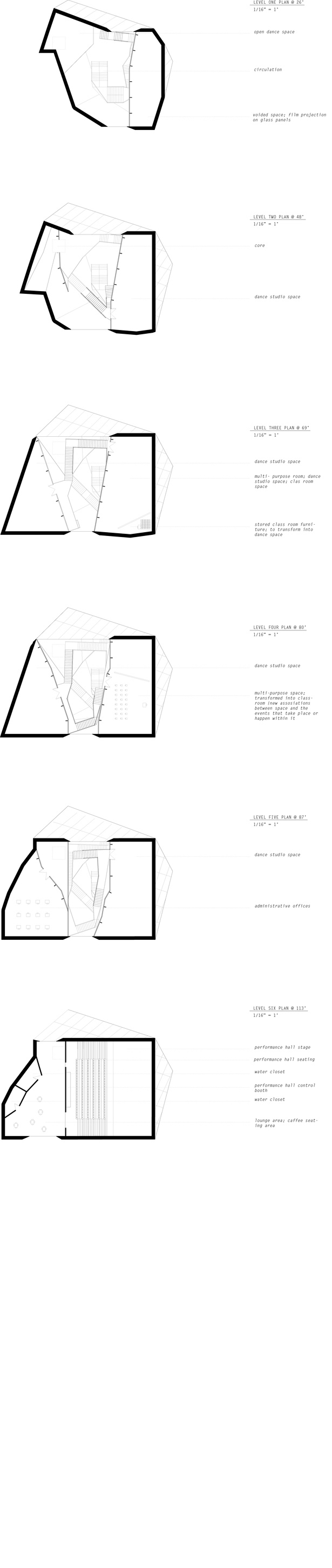 plan floor drawings and distribution of spaces