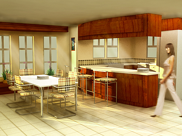 Interior Rendering of Kitchen