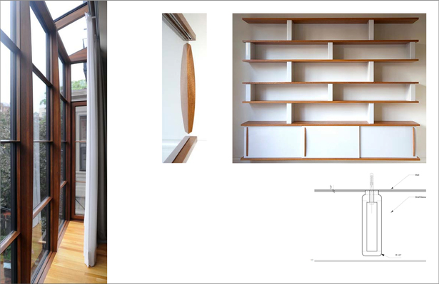 Left: Rear Parlor Oriel Window; Middle: Detail of Shelving Unit Sliding Door; Right: Rear Parlor Shelving Unit (Below: Plan Detail of Shelving Support)