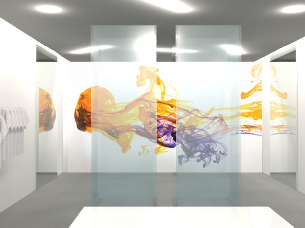 The facade showcases activity as customers explore and experiment. The logo on the facade changes color to reinforce the dynamic, limitless opportunities of Color Lab's customization process. A feature video wall, demonstrating the release of dye in water denotes the concept of the dying process and provides spatial depth.