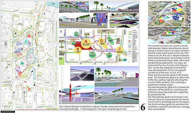 Four Corners Design Competition, Naples, Florida; (International Competition) Conceptual Design. 1 mile long block, Principal- Lead Designer/ LLM