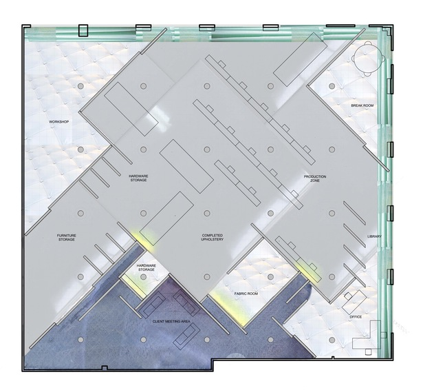 Floor plan rendered with materials