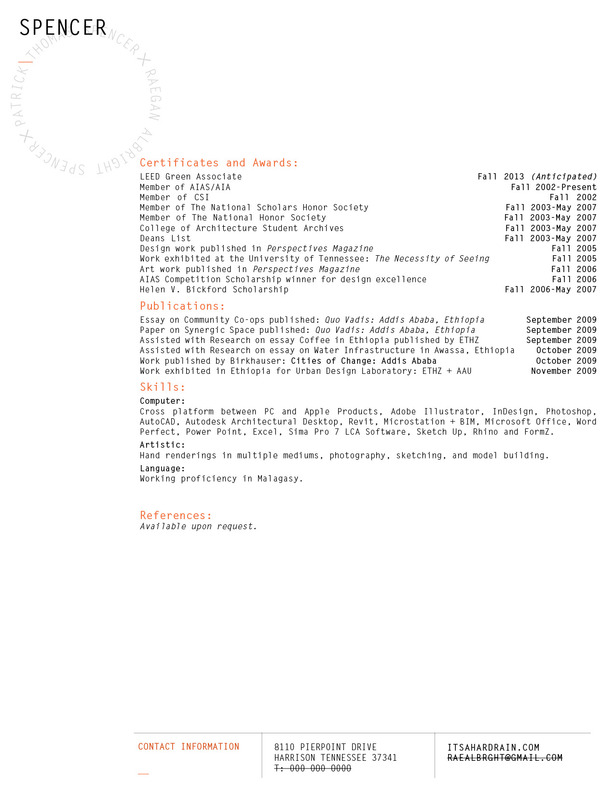 resume second sheet