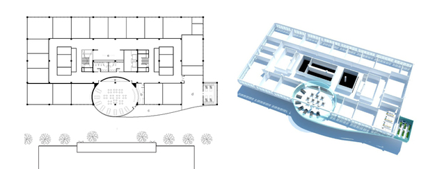 second floor plan + axonometric (AutoCAD, SketchUp)